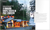 Authentic wild West Coast weather shows in this exterior shot of a home taken at twilight, on the ocean at Port Renfrew.