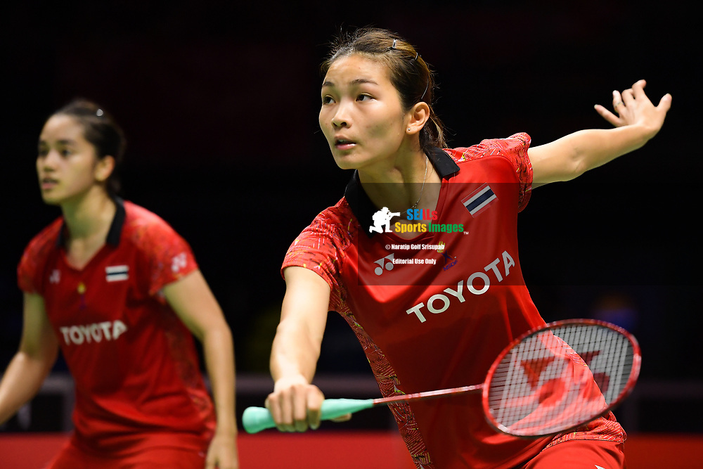 BANGKOK, THAILAND - MAY 24: Jongkolphan Kititharakul and Rawinda Prajongjai of Thailand in action on Court 1 during their Quarter Finals match against Greysia Polii and Apriyani Rahayu of Indonesia at the BWF Total Thomas and Uber Cup Finals 2018, Impact Arena , Bangkok, Thailand on May 24, 2018.<br /> .<br /> .<br /> .<br /> (Photo by: Naratip Golf Srisupab/SEALs Sports Images)<br /> .<br /> Any image use must include a mandatory credit line adjacent to the content which should read: Naratip Golf Srisupab/SEALs Sports Images