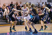Meg Flanagan of Brighton drives to the hoop during a game against Pittsford Sutherland at Brighton High School on Thursday, January 21, 2016.