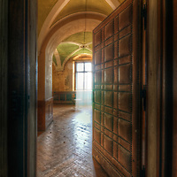 An abandoned palace in East Germany with leather studded doorway and sunlight
