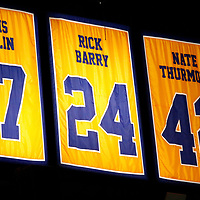 01 June 2017: Retired jersey numbers of Chris Mullin, Rick Barry, Nate Thurmond, are seen in the rafters during the Golden State Warriors 113-90 victory over the Cleveland Cavaliers, in game 1 of the 2017 NBA Finals, at the Oracle Arena, Oakland, California, USA.