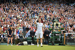 © London News Pictures.. 03/07/2013. Andrew Murray celebrates defeating Fernando Verdasco, Spain in the men's quarter finals at the 2013 Wimbledon Lawn Tennis Championships . Andy Murray went on to win in the final becoming the first British male to win the tournament in 77 years. Photo credit: Mike King/LNP