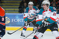 KELOWNA, CANADA - DECEMBER 27:  Myles Bell #29 of the Kelowna Rockets skates on the ice against the Kamloops Blazers at the Kelowna Rockets on December 27, 2012 at Prospera Place in Kelowna, British Columbia, Canada (Photo by Marissa Baecker/Shoot the Breeze) *** Local Caption ***
