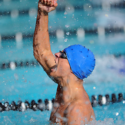 Temescal Canyon's Devin Deckert Jr. reacts as they won the 200 Yard Medley Relay during the CIF-SS Swimming Division 4 Championship at Riverside City College in Riverside, Calif., on Friday, May 11, 2012.<br />  (SGVN/Staff Photo by Keith Birmingham)