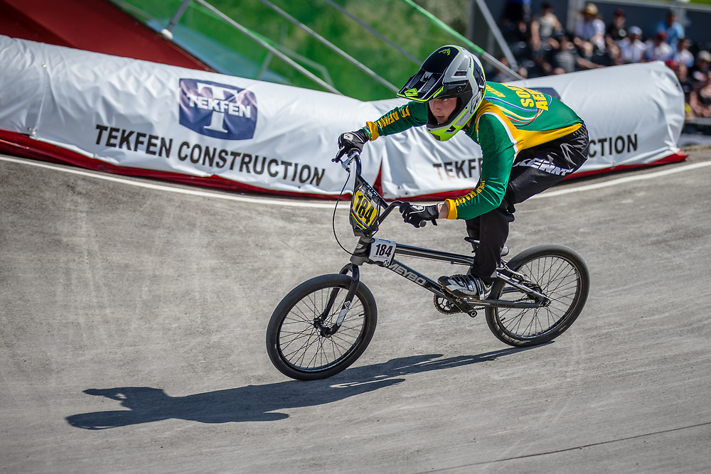 15 Boys #184 (KILIAN Andrew) RSA at the 2018 UCI BMX World Championships in Baku, Azerbaijan.