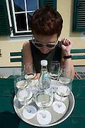 Demmerkogel. Buschenschank Gerngross. Nicole Schmidt tasting samples of this year's wines.