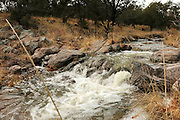 Water flows from snowmelt in Gardner Canyon Creek along the Arizona Trail in Gardner Canyon in the Santa Rita Mountains of the Coronado National Forest in the Sonoran Desert north of Sonoita, Arizona, USA.