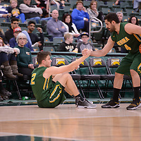 5th year guard Alex Igual (4) of the Regina Cougars during the Men's Basketball home game on November 25 at Centre for Kinesiology, Health and Sport. Credit: Arthur Ward/Arthur Images