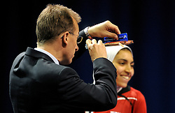 09-05-2011 TAFELTENNIS: WORLD TABLE TENNIS CHAMPIONSHIPS: ROTTERDAM<br /> Sara Hassan from Egypt have some problems with there ping pong bat<br /> ©2011-FotoHoogendoorn.nl