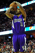 Oct. 30, 2010; Cleveland, OH, USA; Sacramento Kings shooting guard Luther Head (9) shoots a jump shot during the second quarter against the Cleveland Cavaliers at Quicken Loans Arena. Mandatory Credit: Jason Miller-US PRESSWIRE