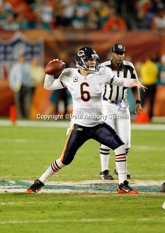 Chicago Bears quarterback Jay Cutler (6) throws a pass during the NFL week 11 football game against the Miami Dolphins on Thursday, November 18, 2010 in Miami Gardens, Florida. The Bears won the game 16-0. (©Paul Anthony Spinelli)