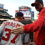 Pitcher Stephen Strasburg, Washington Nationals, heads out of the dugout to pitch during the New York Mets Vs Washington Nationals MLB regular season baseball game at Citi Field, Queens, New York. USA. 30th April 2015. Photo Tim Clayton
