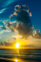 Sunrise seen from the beach at Le Reve Hotel, Riviera Maya, Quintana Roo, Mexico