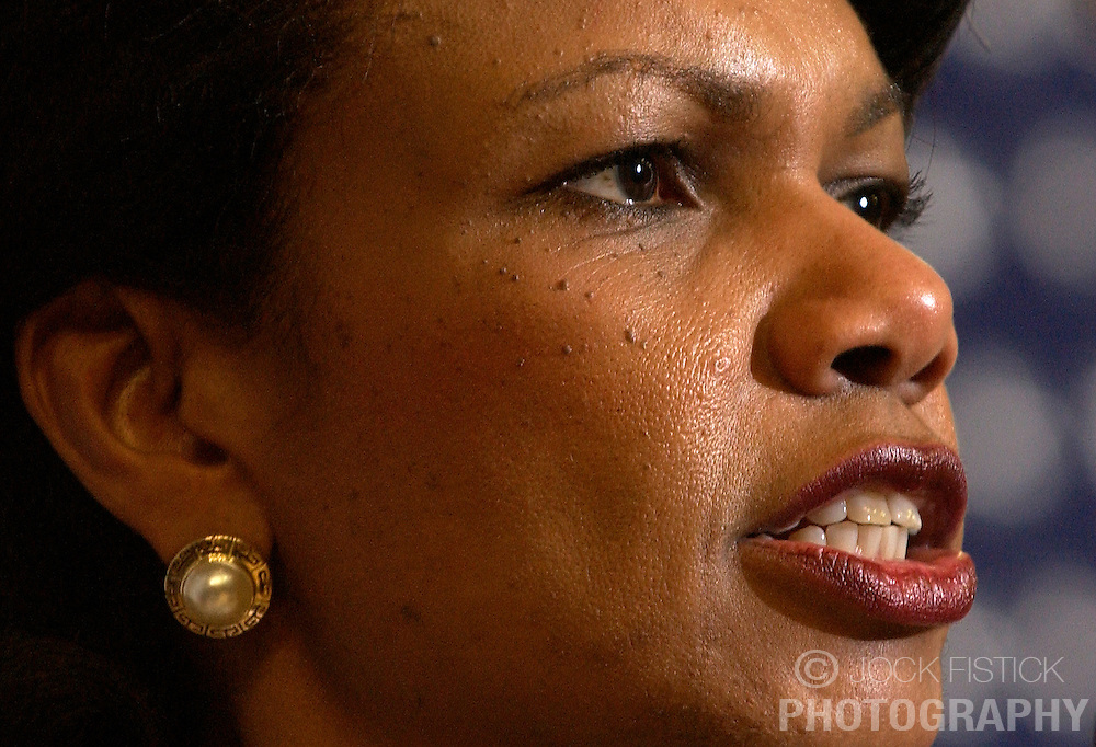 BRUSSELS, BELGIUM - FEB-9-2005 -  US Secretary of State Condoleezza Rice speaks during a joint press conference at the European Commission headquarters in Brussels. (Photo © Jock Fistick)