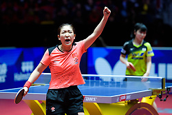May 5, 2018 - Halmstad, SVERIGE - 180505 Kinas Shiwen Liu jublar efter att hon säkrat segern till Kina i damernas final mellan Kina och Japan under dag 7 av Lag-VM i Bordtennis den 5 maj 2018 i Halmstad  (Credit Image: © Carl Sandin/Bildbyran via ZUMA Press)