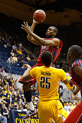 March 16, 2011; Berkeley, CA, USA;  Mississippi Rebels guard Zach Graham (32) shoots over California Golden Bears forward Richard Solomon (25) during the first half of the first round of the National Invitation Tournament at Haas Pavilion.