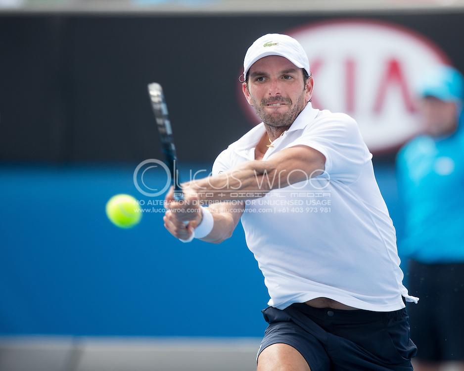 Julien Benneteau (FRA). Australian Open Tennis Championship. Day 5. Round 3. Melbourne Olympic Park, Melbourne, Victoria, Australia. 18/01/2013. Photo By Lucas Wroe