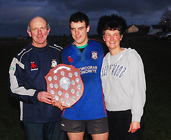 Davy O'Toole and Sue O'Toole (Westport Physio)  show their delight with their son Pat (Westport Captain) after winning the Connacht league final against Galwegians in Tuam on saturday evening.