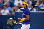 CINCINNATI, OH - AUGUST 20: Rafael Nadal of Spain looks on during his match with Paul-Henri Mathieu of France during day four of the Western & Southern Financial Group Masters on August 20, 2009 at the Lindner Family Tennis Center in Cincinnati, Ohio. Nadal defeated Mathieu 7-5, 6-2. (Photo by Joe Robbins)