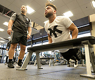 GLENDALE, ARIZONA - FEBRUARY 19:  Yoan Moncada #10 of the Chicago White Sox exercises during spring training workouts on February 19, 2019 at Camelback Ranch in Glendale Arizona.  (Photo by Ron Vesely). Subject:   Yoan Moncada