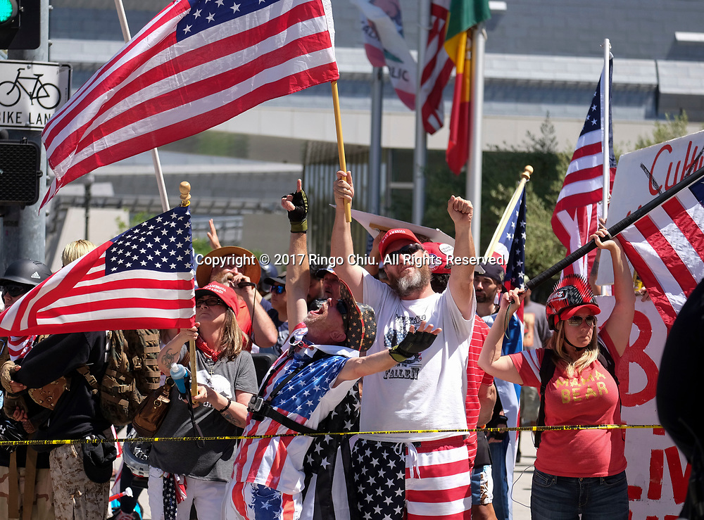 A group of President Donald Trump supporters protest during the annual May Day March in Los Angeles, May 1, 2017. (Photo by Ringo Chiu/PHOTOFORMULA.com)<br /> <br /> Usage Notes: This content is intended for editorial use only. For other uses, additional clearances may be required.