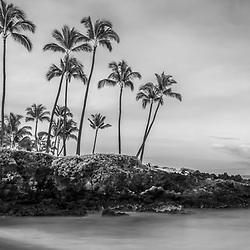 Maui Hawaii Ulua Beach shoreline morning black and white panorama photo in Wailea Makena along the Pacific Ocean. Photo copyright ⓒ 2019 Paul Velgos with All Rights Reserved.