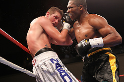 August 2, 2012; New York, NY; USA; Thomas Oosthuizen and Rowland Bryant during their 12 round IBO Super Middleweight Championship bout at Roseland Ballroom.  Oosthuizen won via unanimous decision.