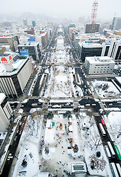 Winter view of Odori Park in the snow during annual snow sculpture festival in Sapporo Hokkaido Island Japan