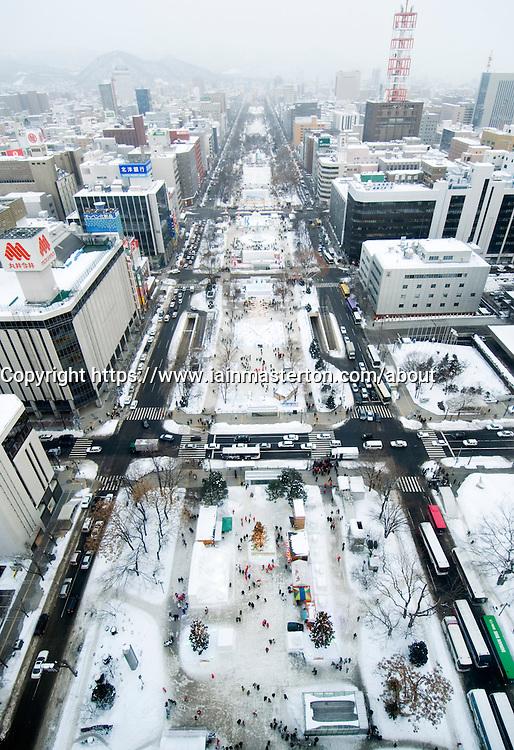 Winter view of Odori Park in the snow during annual snow sculpture festival in Sapporo Hokkaido Island Japan