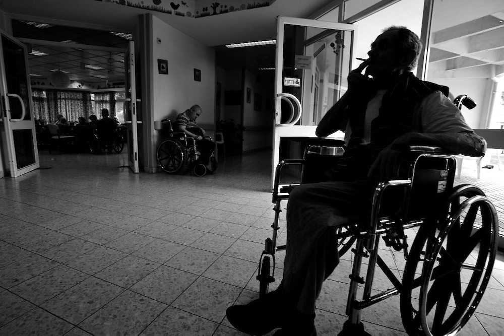 Holocaust survivors sit in wheelchairs in the Shaar Menashe Mental Health Center for Holocaust survivors in Pardes Hanna, Israel on July 21, 2010.