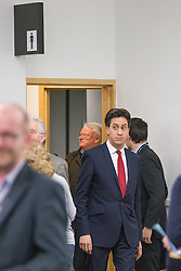 "© Licensed to London News Pictures . 01/03/2014 . London , UK . Ed Miliband exits the toilet . The Labour Party hold a one day "" Special Conference "" at the Excel Centre in London today (Saturday 1st March 2014) . Photo credit : Joel Goodman/LNP"