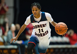 March 6 2016: Robert Morris Colonials guard Janee Brown (11) handles the ball during the second half in the NCAA Women's Basketball game between the Fairleigh Dickinson Lady Knights and the Robert Morris Colonials at the Charles L. Sewall Center in Moon Township, Pennsylvania (Photo by Justin Berl)