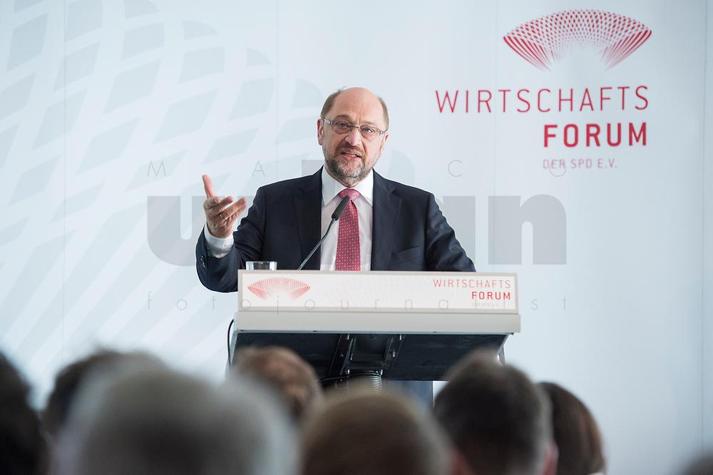 13 JUN 2017, BERLIN/GERMANY:<br /> Martin Schulz,  SPD Parteivorsitzender und Kanzlerkandidat, haelt eine Rede, Jahreskonferenz, Wirtschaftsforum der SPD, Humboldt-Box<br /> IMAGE: 20170613-01-276