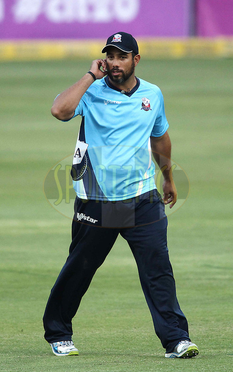 Andre Adams of the Auckland Aces talks to the commentators during 2nd Qualifying match of the Karbonn Smart CLT20 South Africa between Auckland Aces and Sialkot Stallions held at The Wanderers Stadium in Johannesburg, South Africa on the 9th October 2012..Photo by Shaun Roy/SPORTZPICS/CLT20