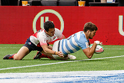 March 9, 2019 - Vancouver, BC, U.S. - VANCOUVER, BC - MARCH 10: Santiago Alvarez (c) #6 of Argentina scores despite tackle from Naoki Motomura #12 of Japan during Game #2- Argentina 7s vs Japan 7s in Pool D match-up at the Canada Sevens held March 9-10, 2019 at BC Place Stadium in Vancouver, BC, Canada.(Photo by Allan Hamilton/Icon Sportswire) (Credit Image: © Allan Hamilton/Icon SMI via ZUMA Press)