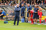 A very unhappy Russ Wilcox during the Friendly match between Harrogate Town and York City at Wetherby Road, Harrogate, United Kingdom on 25 July 2015. Photo by Simon Davies.