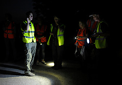 © Licensed to London News Pictures. 03/09/2013. Eldersfield, Gloucestershire, UK. Wounded Badger Patrol patrol in Gloucestershire.  Around 100 people patrolled local roads and public footpaths looking for injured badgers from the badger cull which has now started in West Gloucestershire.  Police were also patrolling but there were no arrests.  03 September 2013.<br /> Photo credit : Simon Chapman/LNP