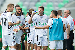 Danijel Dezmar of Krka, Lamin Diallo of Krka, Gregor Zugelj of Krka drinking during football match between NK Olimpija and NK Krka in Round 1 of Prva liga Telekom Slovenije 2014/15, on July 19, 2014 in SRC Stozice, Ljubljana, Slovenia. Photo by Vid Ponikvar / Sportida.com