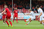 Luton Town Midfielder Cameron McGeehan shoots at goal during the EFL Sky Bet League 2 match between Crawley Town and Luton Town at the Checkatrade.com Stadium, Crawley, England on 17 September 2016. Photo by Phil Duncan.