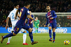 December 17, 2017 - Barcelona, Catalonia, Spain - Andre Gomes and Luis Suarez during the La Liga match between FC Barcelona v Real Club Deportivo de La Coruna, in Barcelona, on December 17, 2017. (Credit Image: © Joan Valls/NurPhoto via ZUMA Press)