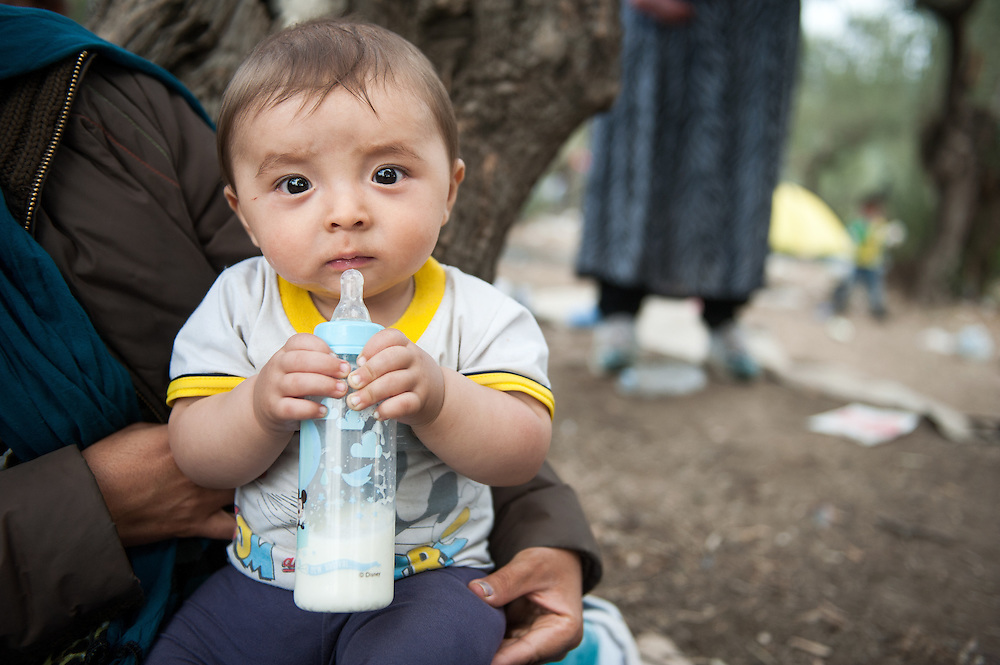 Firaydun 8 months old year old from Bamyan Afghanistan  at Moria camp, Lesvos, Greece.