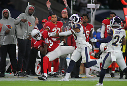 LONDON, ENGLAND - OCTOBER 22: Arizona Cardinals wide receiver Jaron Brown (13) is pushed into touch by Los Angeles Rams strong safety John Johnson (43) during the NFL match between the Arizona Cardinals and the Los Angeles Rams at Twickenham Stadium on October 22, 2017 in London, United Kingdom. (Photo by Mitchell Gunn/ESPA-Images) *** Local Caption ***