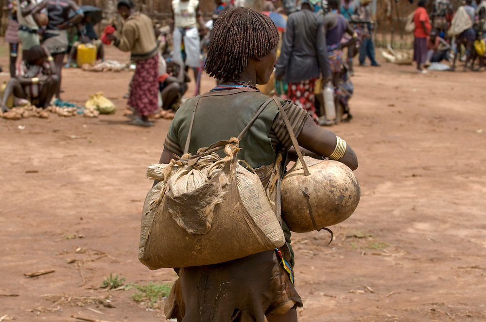 Aari tribal woman on the market of Key Afer, Ethiopia,Africa