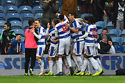 Goal - Jack Bidwell (3) of Queens Park Rangers celebrates scoring a goal to make the score 2-1 during the The FA Cup 3rd round match between Queens Park Rangers and Leeds United at the Loftus Road Stadium, London, England on 6 January 2019.