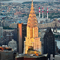 The Chrysler Building lite up by evening sunshine