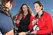 Sofia Fenwick of the Tactix signs an autograph for Martina Cepeda, 13 of the Southbridge Netball Club during the ANZ Championship Roadshow, Win a Warmup, held at the Selwyn Netball Centre, Lincoln. 17 May 2014 Photo: Joseph Johnson/www.photosport.co.nz