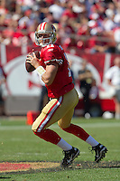 18 September 2011: Quarterback (11) Alex Smith of the San Francisco 49ers drops back to pass against the Dallas Cowboys during the first half of the Cowboys 27-24 overtime victory against the 49ers in an NFL football game at Candlestick Park in San Francisco, CA.