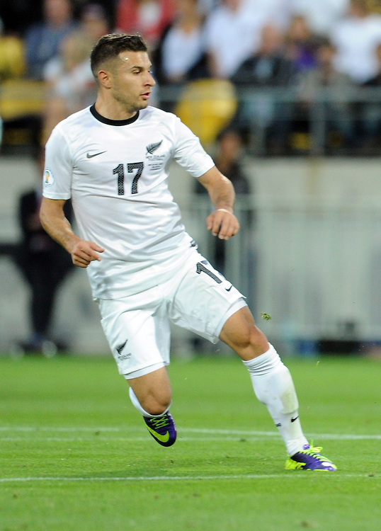 New Zealand's Kosta Barbarouses against Mexico in the World Cup Football qualifier, Westpac Stadium, Wellington, New Zealand, Wednesday, November 20, 2013. Cedit:SNPA / Ross Setford