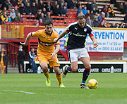 Dundee's Tom Hateley takes on Motherwell's Carl McHugh - Motherwell v Dundee, Fir Park, Motherwell, Photo: David Young<br /> <br />  - © David Young - www.davidyoungphoto.co.uk - email: davidyoungphoto@gmail.com