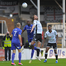 TELFORD COPYRIGHT MIKE SHERIDAN Theo Streete of Telford battles for a header with Mike Symons of Hereford during the National League North fixture between Hereford FC and AFC Telford United at Edgar Street, Hereford on Tuesday, August 13, 2019<br /> <br /> Picture credit: Mike Sheridan<br /> <br /> MS201920-009